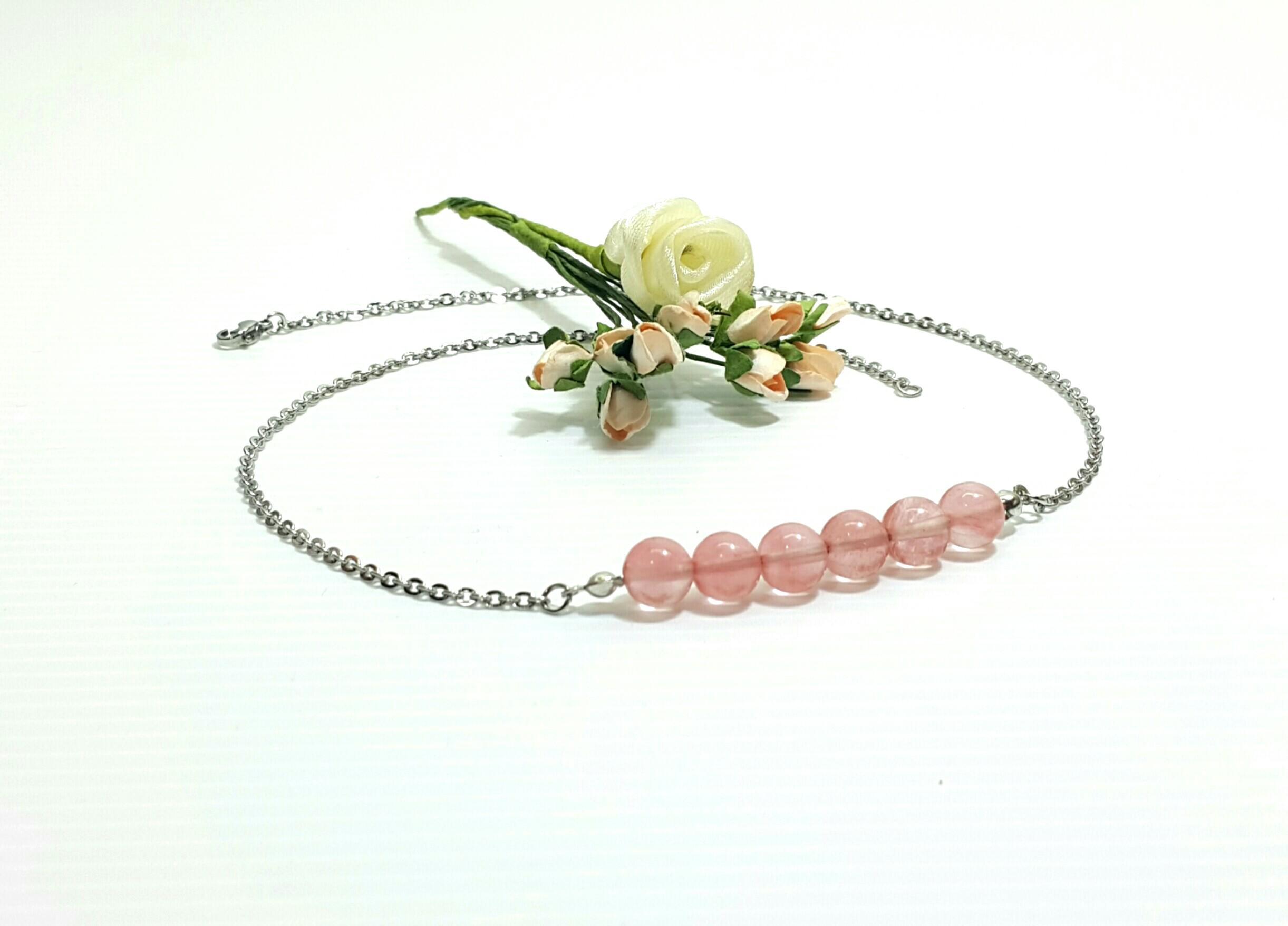 Cherry Quartz Beads Necklace for Women/Men