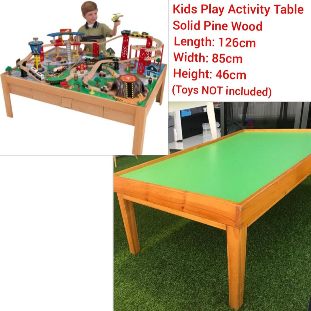Children Play Activity Table - Solid Pine Wood Wooden Table for Kids Activities - Great for playing train & car track playset set / building blocks / lego etc.