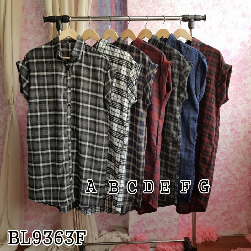 Dress BL9363F kemeja dress mini dress dress flanel dress tartan dress casual dress motif dress simpel dress santai