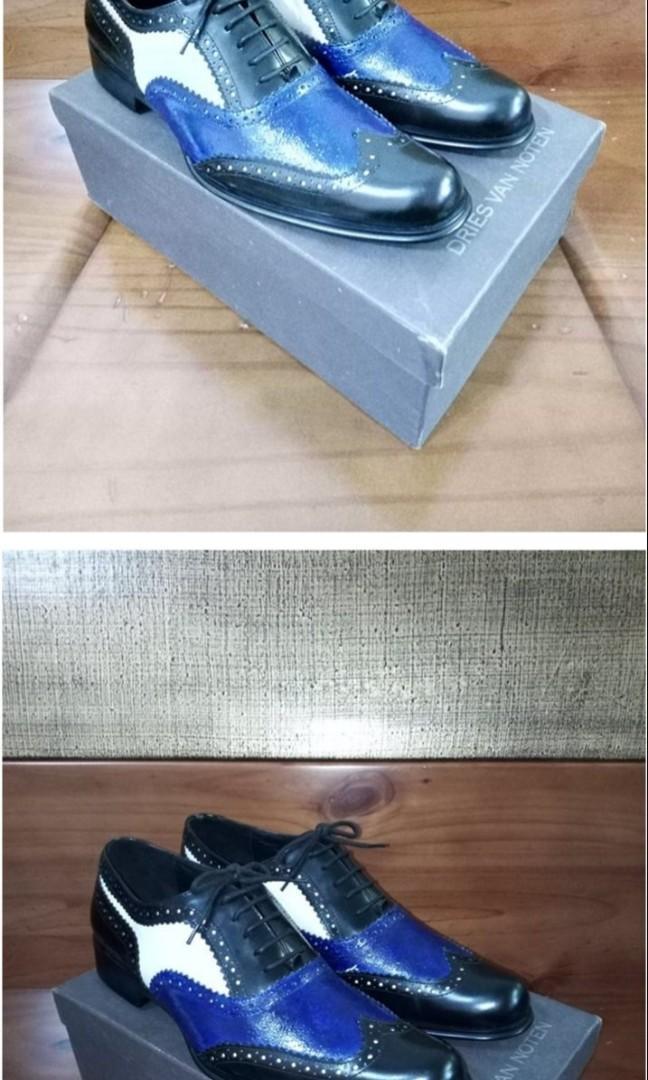 DRIES VAN NOTEN 43手工訂製雕花紳士真皮婚鞋 黑藍白鯨魚lv非g uccibur berry$prada