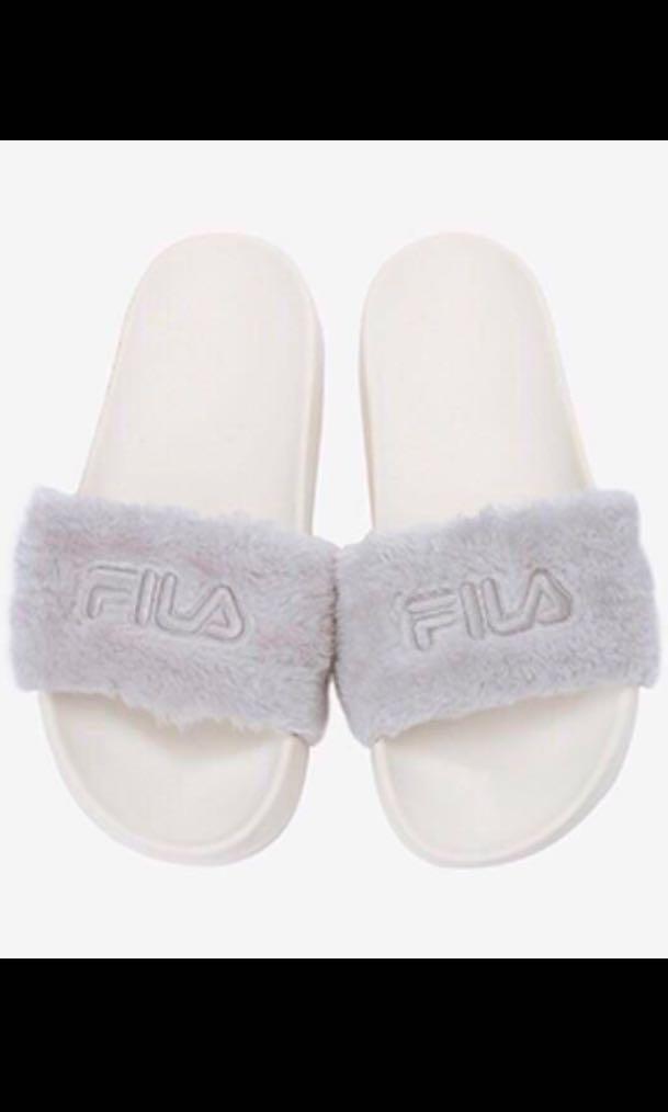 Fila Korea Fur Slides, Women's Fashion
