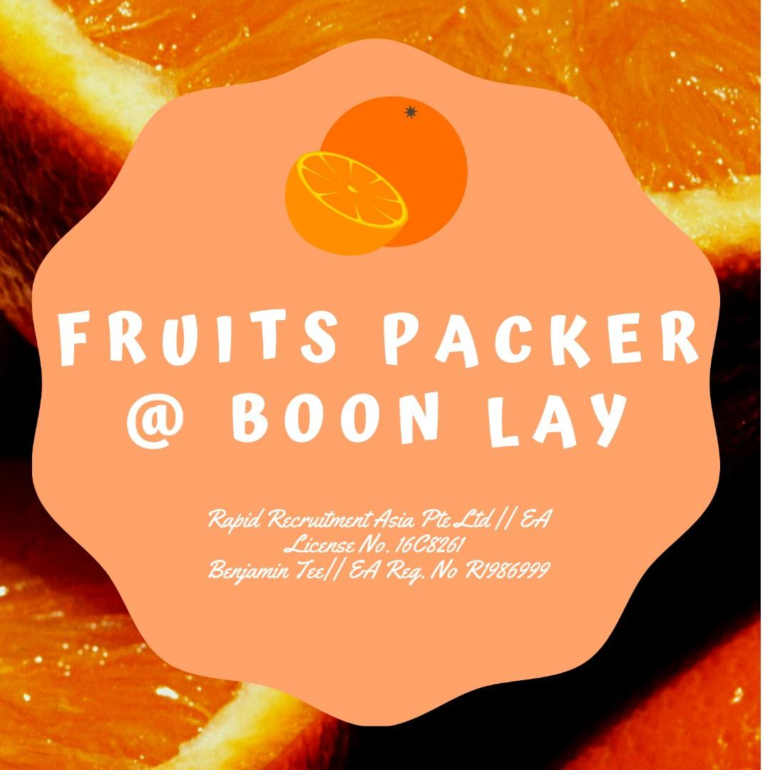 Fruit Packers@ Boon Lay !! ($400/week, Aircon environment!!)