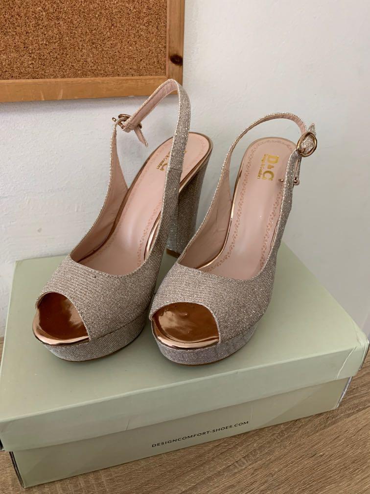 Gold glitter platform heels, Women's