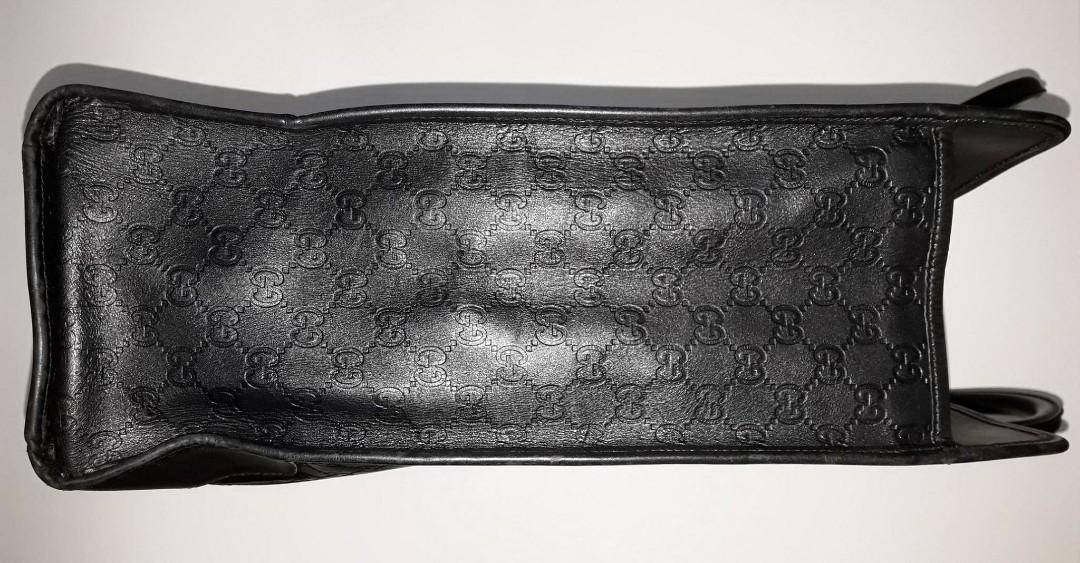 GUCCI 古馳真品 145843-203419 guccissima 闇黑硬挺真皮GG壓紋 超大型 手提包托特包公事包