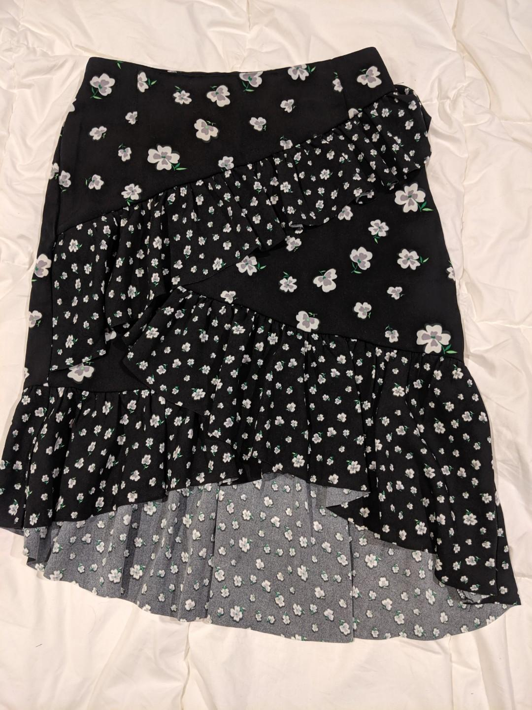H&M floral skirt with ruffle frills, black and white mini skirt. Wrap style