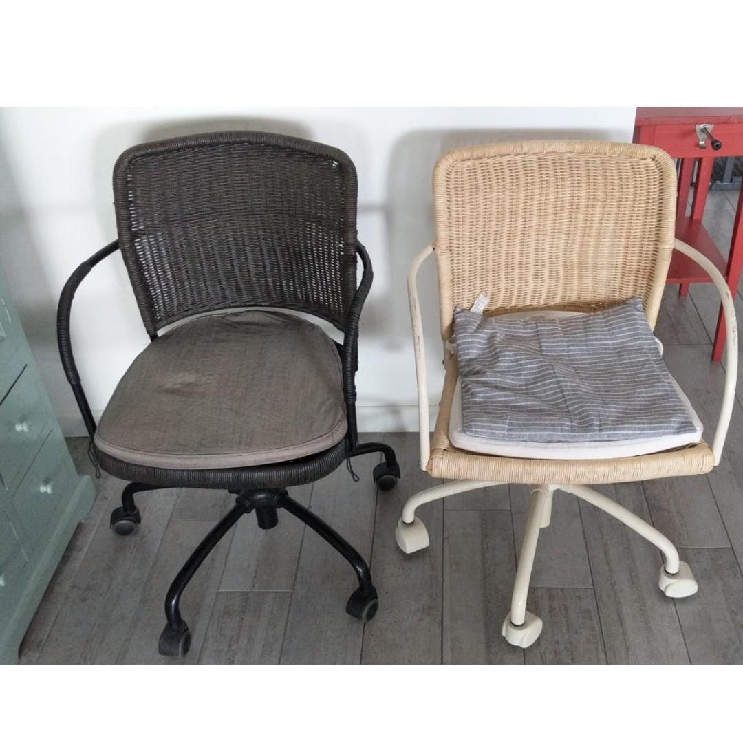 Picture of: Ikea Rattan Wicker Office Chairs X 2 Black White Furniture Tables Chairs On Carousell