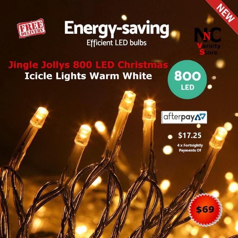 Jingle Jollys 800 LED Christmas Icicle Lights Warm White