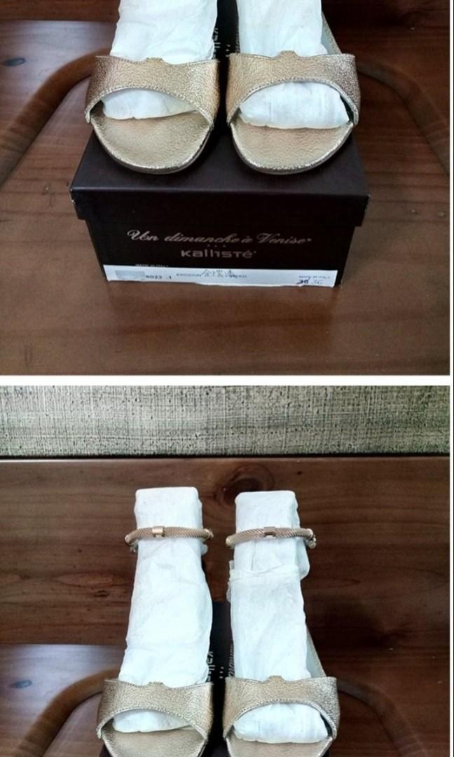 Kallisté 36 全新義大利製奢華金 金屬漆皮 簍空編織金屬腳環 真皮紅底涼鞋$LV$CHA NEL$GU CCI
