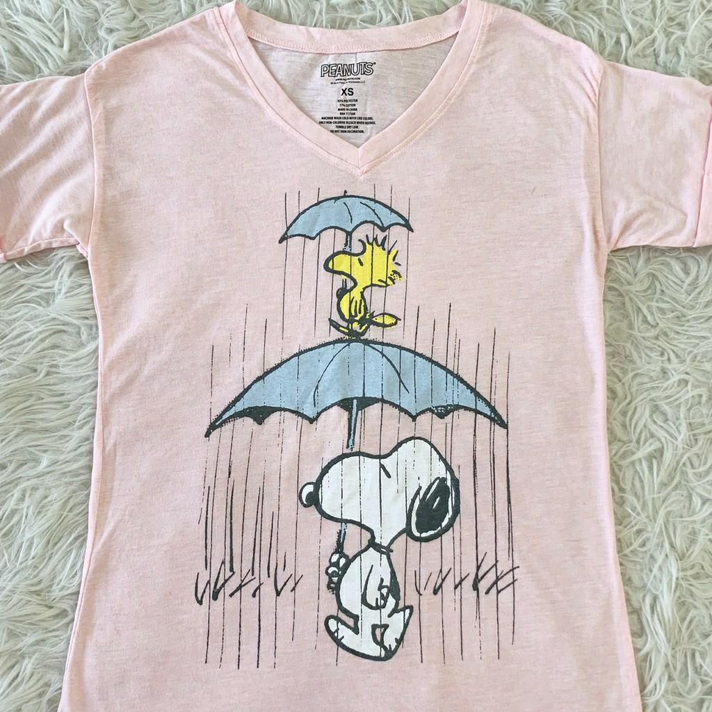 Kaos wanita Peanuts Snoopy Pink T-Shirt BL1408 kaos snoopy kaos casual kaos santai kaos vneck kaos gambar