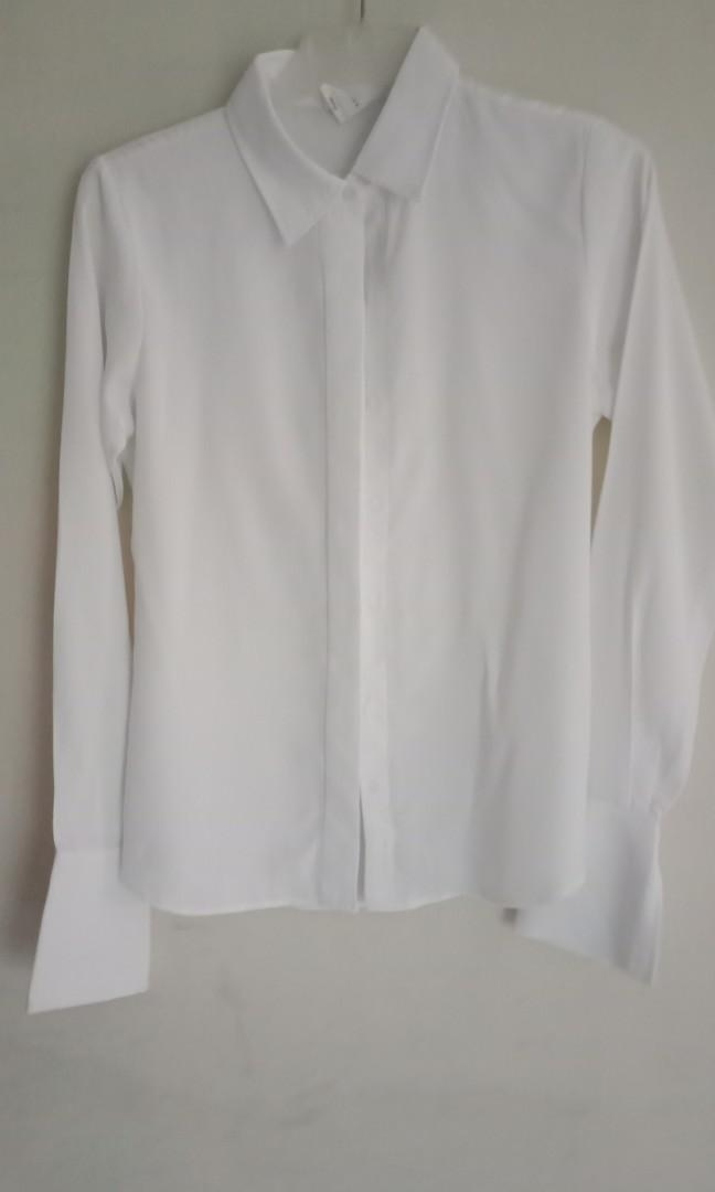 Kemeja Putih bhan satin sutra merk belle ivy