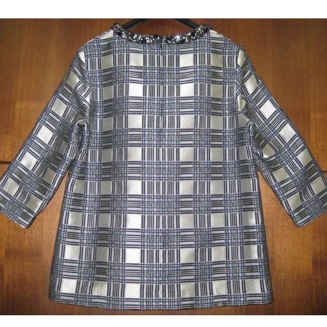 KI6 WHO ARE YOU 42 格紋玻璃金屬圓領硬挺閃亮 立體剪裁對稱對花 厚織布料洋裝lv Gucci bur
