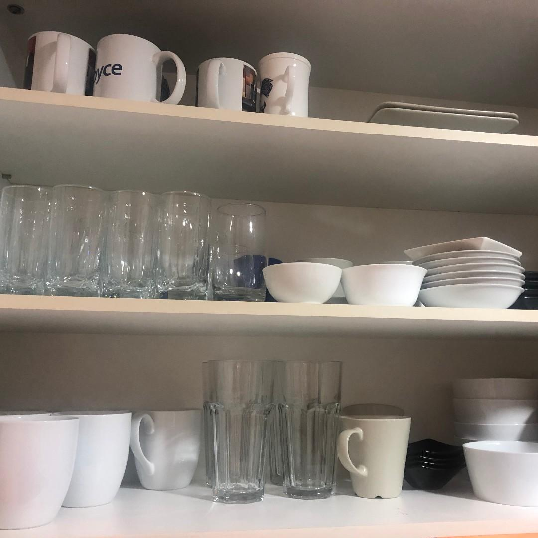 Kitchenware - all from pots, pans, plates, glasses, coffee mugs, cutlery, etc