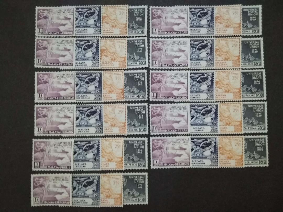 Malaya 1949 Universal Union Postal Complete For 11 States Short Singapore - 44v MLH Stamps