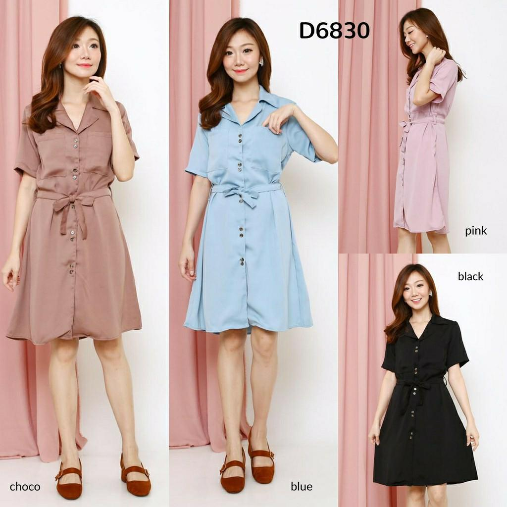 Mididress Zara Button Shirt Dress D6830 dress polos dress tali dress kancing dress casual dress kerja dress kantor kemeja dress