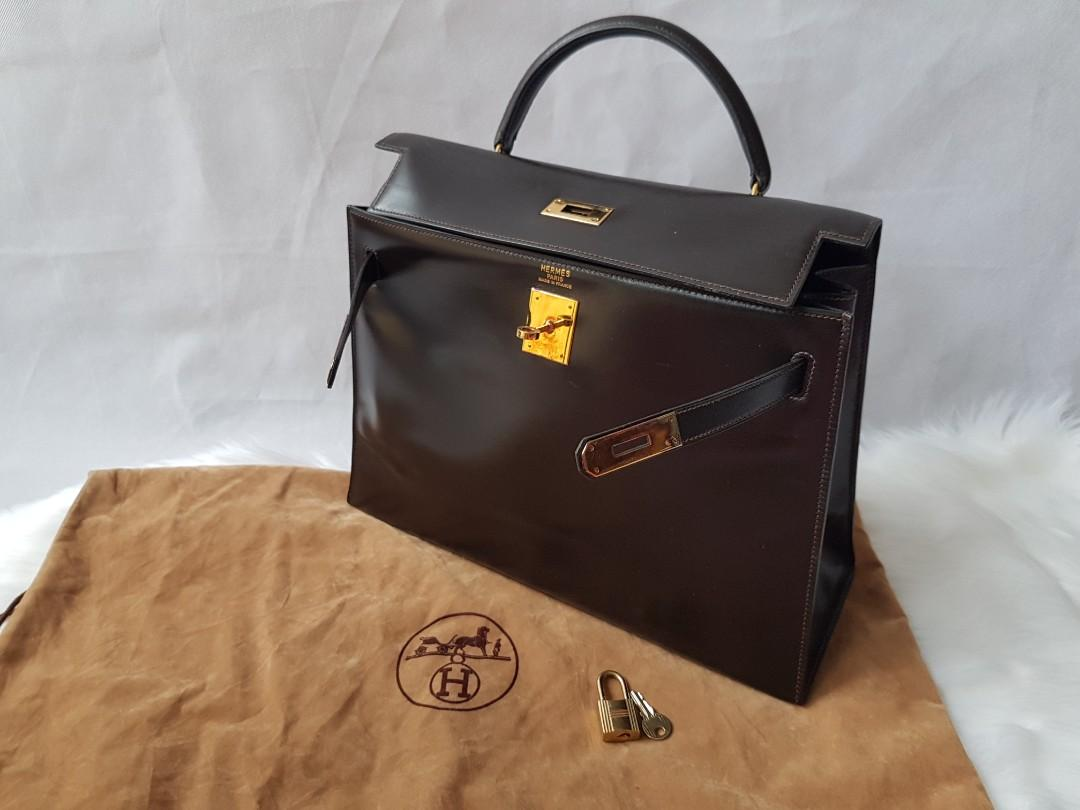OFFER! Authentic HERMES KELLY 32cm chocolate dark brown box calf leather bag