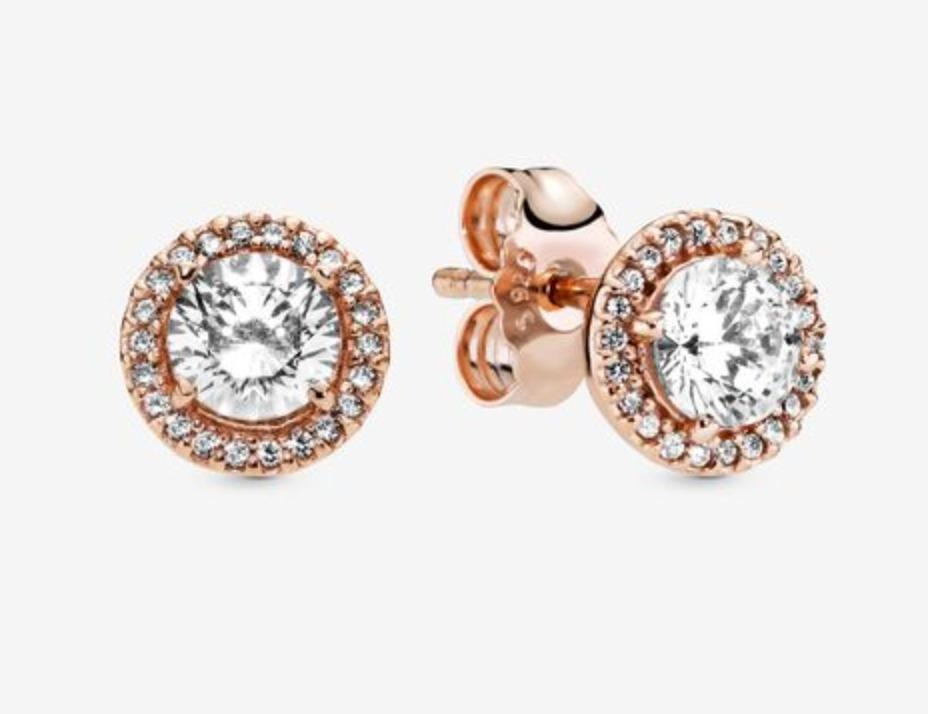 Pandora Rose Gold Round Sparkle Halo Stud Earrings