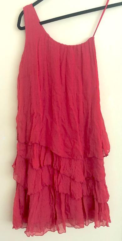 Pink Ruffle Silk Dress Size S Kaos (Italian Designer)