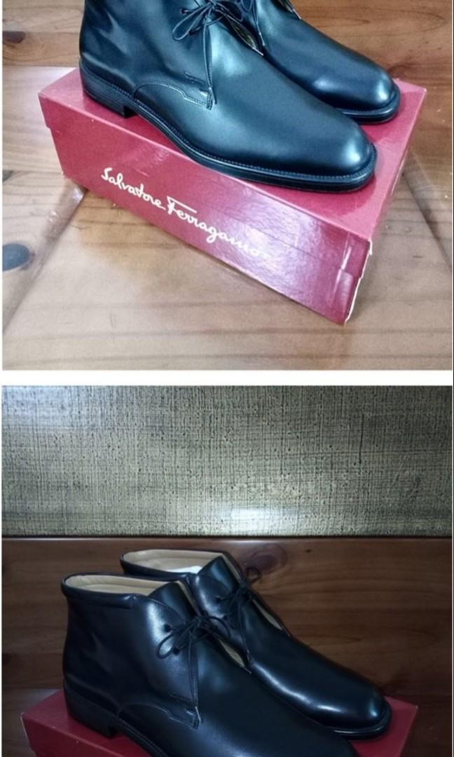 Salvatore Ferragamo 9.5 小牛皮闇黑紳士皮鞋短統靴 全新真品真皮義大利製 lv非gucci
