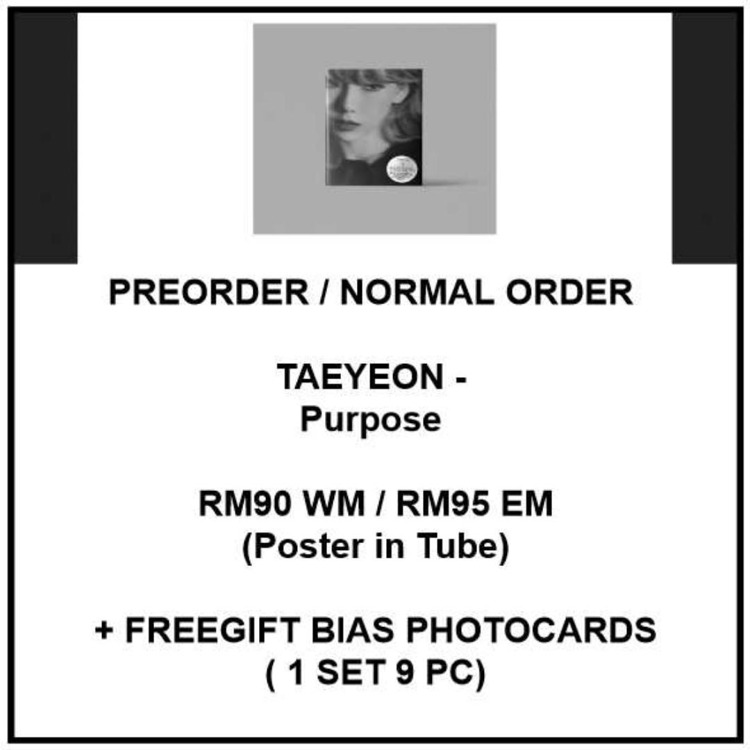 TAEYEON - Purpose - PREORDER/NORMAL ORDER/GROUP ORDER/GO + FREE GIFT BIAS PHOTOCARDS (1 ALBUM GET 1 SET PC, 1 SET GET 9 PC)