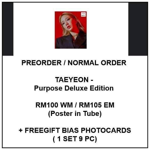 TAEYEON - Purpose Deluxe Edition  - PREORDER/NORMAL ORDER/GROUP ORDER/GO + FREE GIFT BIAS PHOTOCARDS (1 ALBUM GET 1 SET PC, 1 SET GET 9 PC)