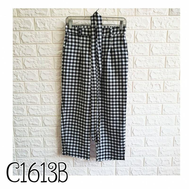 Tartan Pants C1613B celana bahan celana motif celana casual celana karet celana kerja celana kantor celana polos
