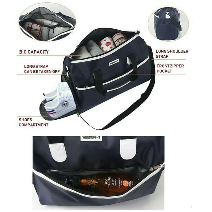 Tas travel water resistant dengan slot sepatu SIZE L