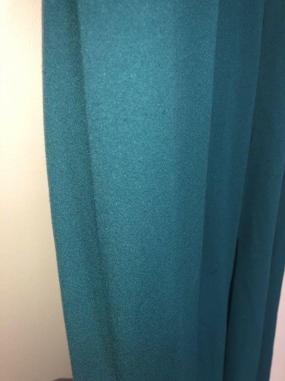 VERA WANG Long Halter Dress / Gown with Slit Forest Green Size US 12