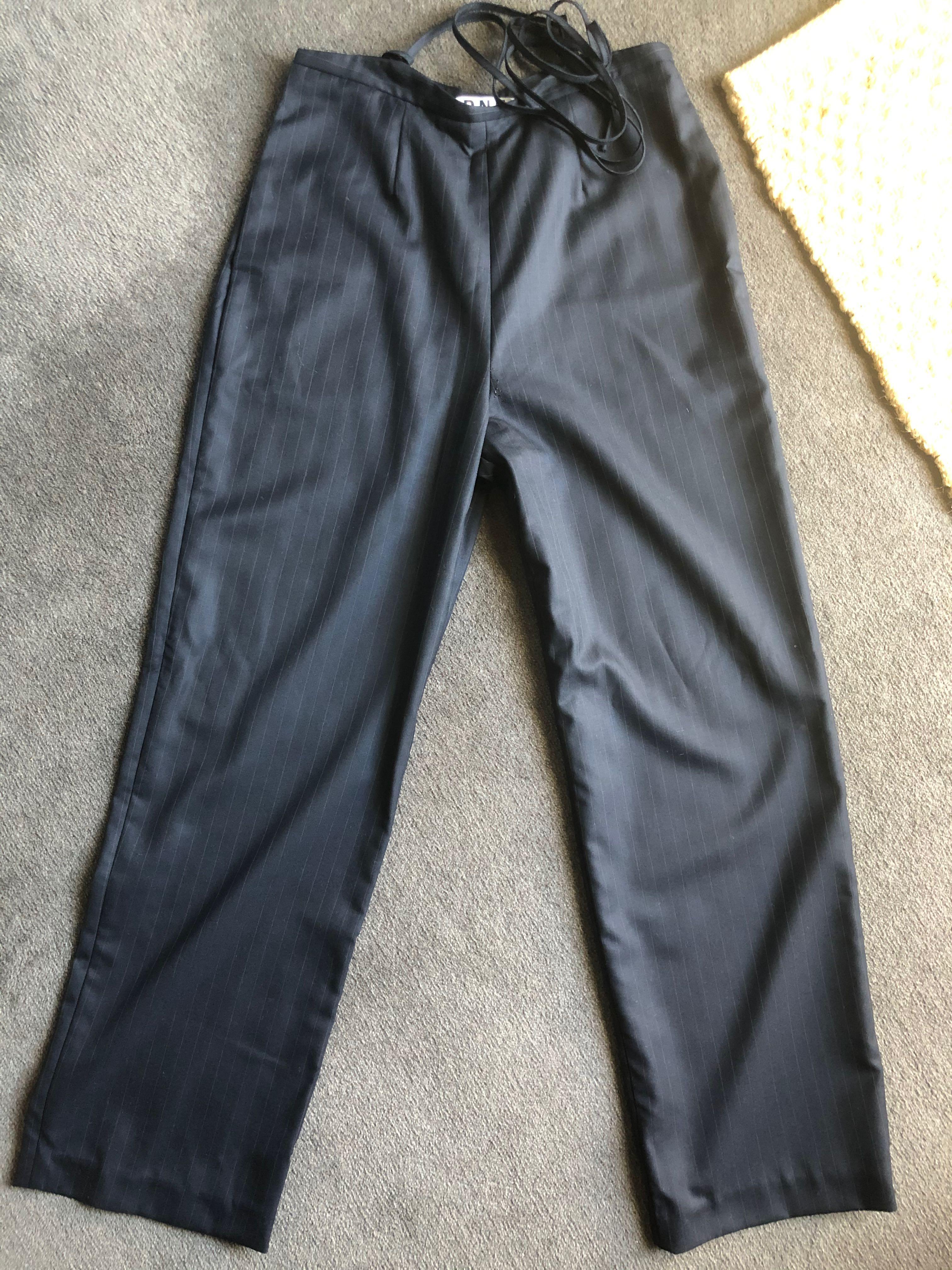 Verner dark navy pinstripe suspender style pants size XS