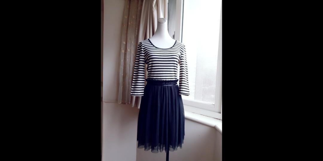 日雜VIVI品牌 甜美條紋拼網紗高腰洋裝