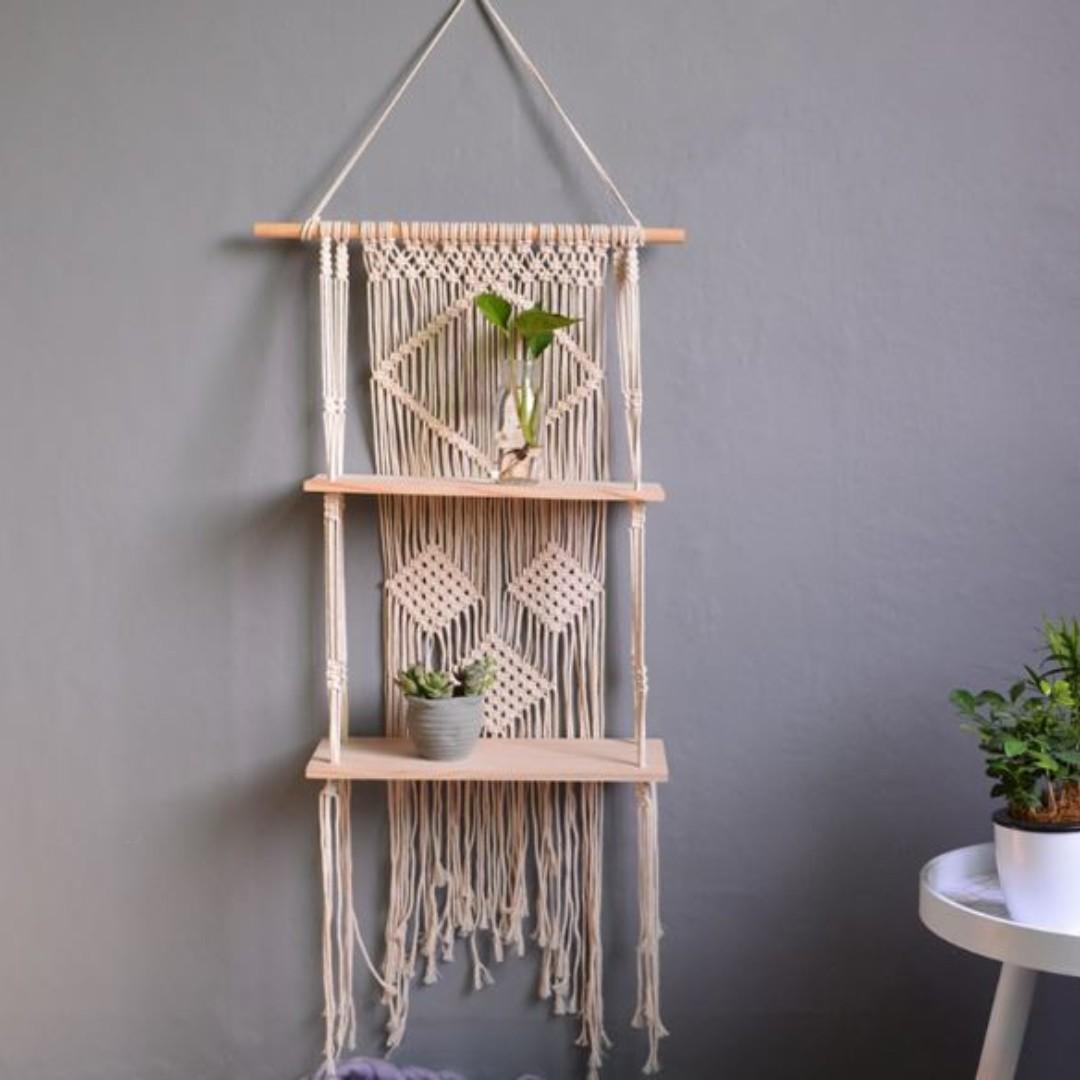 Hand Woven Macrame Wall Tapestry with Wood Shelf Rack