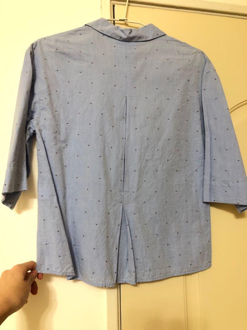 Zara 五分袖點點襯衫