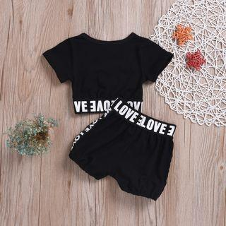 Baby girl black crop top and shorts Street style