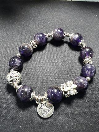漸層霧彩紫水晶加小銀飾手珠(約12mm)