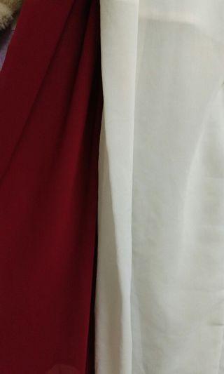 紅 白 雪紡寛褲