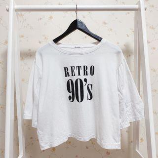寬鬆英文字母90s圓領素面短版袖子開衩五分袖短袖上衣T恤-白F