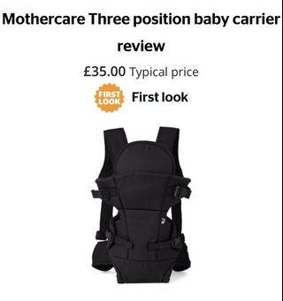 MOTHERCARE 3-Way Position Baby Carrier