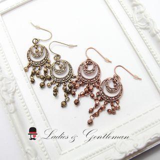 <Ladies & gentleman>紅銅羅馬款流蘇民族風浪漫個性穿式耳環(可改夾式)