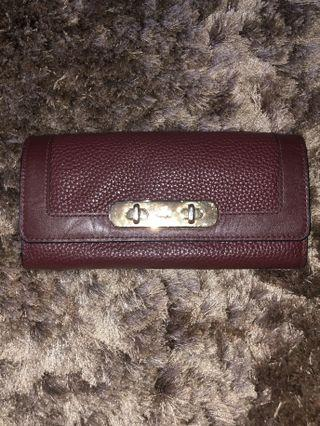 AUTHENTIC / ORIGINAL Coach Swagger Slim Pebble Leather Envelope Wallet with 12 Card Slots - Burgundy
