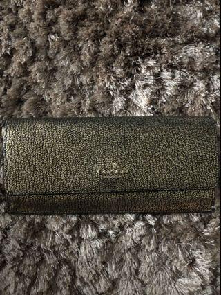 AUTHENTIC / ORIGINAL Coach Soft Wallet in Metallic Crossgrain Leather - Gold