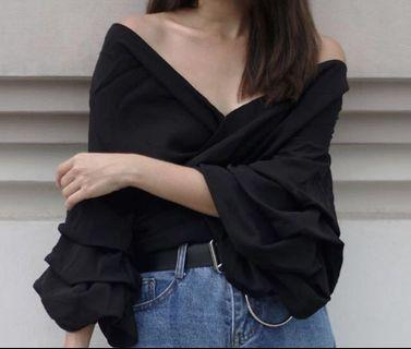 Black Wrap Top *Cotton Material*