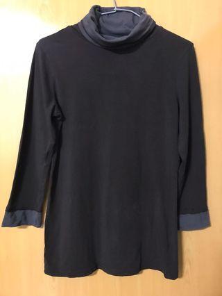 深咖配深褐反領七分袖上衣(全彈性)