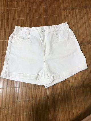 米白色全彈性休閒短褲