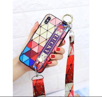 漸層彩虹格子iPhone 10手機殼可背式 多送一條背帶