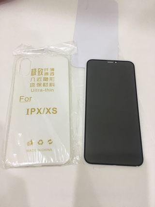手機軟殼膠 IPHONE10防窺  鋼化螢幕玻璃保護貼 全部300