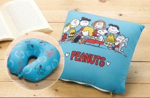 Sogo來店禮 史努比 兩用頸枕 旅行枕 可變成方形枕 枕頭