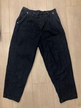二手)日系男孩風 山系 錐形牛仔寬褲