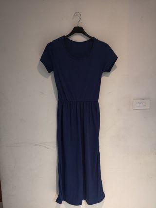<降價>深寶藍縮腰長洋裝