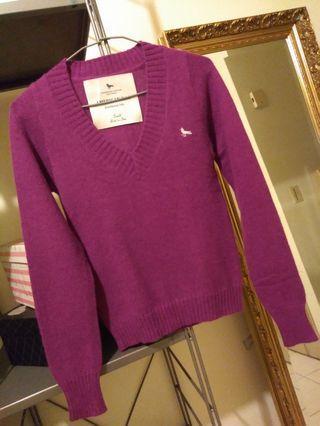 美國梅西百貨華人最愛品牌  AMERICAN  RAG  紫羅蘭V領短版羊毛衫