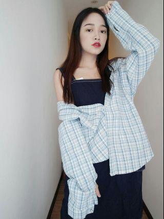 淺藍撞色線條格紋襯衫