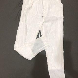 日牌Avan Lily棉麻設計感白色修身鬆緊長褲